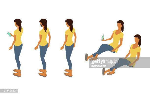 isometric woman standing and seated - mathisworks stock illustrations