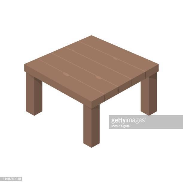 平らなアイソメの木製テーブル - 内陸部の岩柱点のイラスト素材/クリップアート素材/マンガ素材/アイコン素材