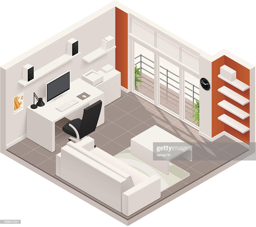 Isometric working room icon