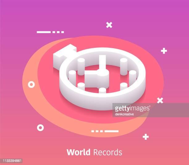 illustrazioni stock, clip art, cartoni animati e icone di tendenza di isometric world records vector web banner & icon design - tempo turno sportivo