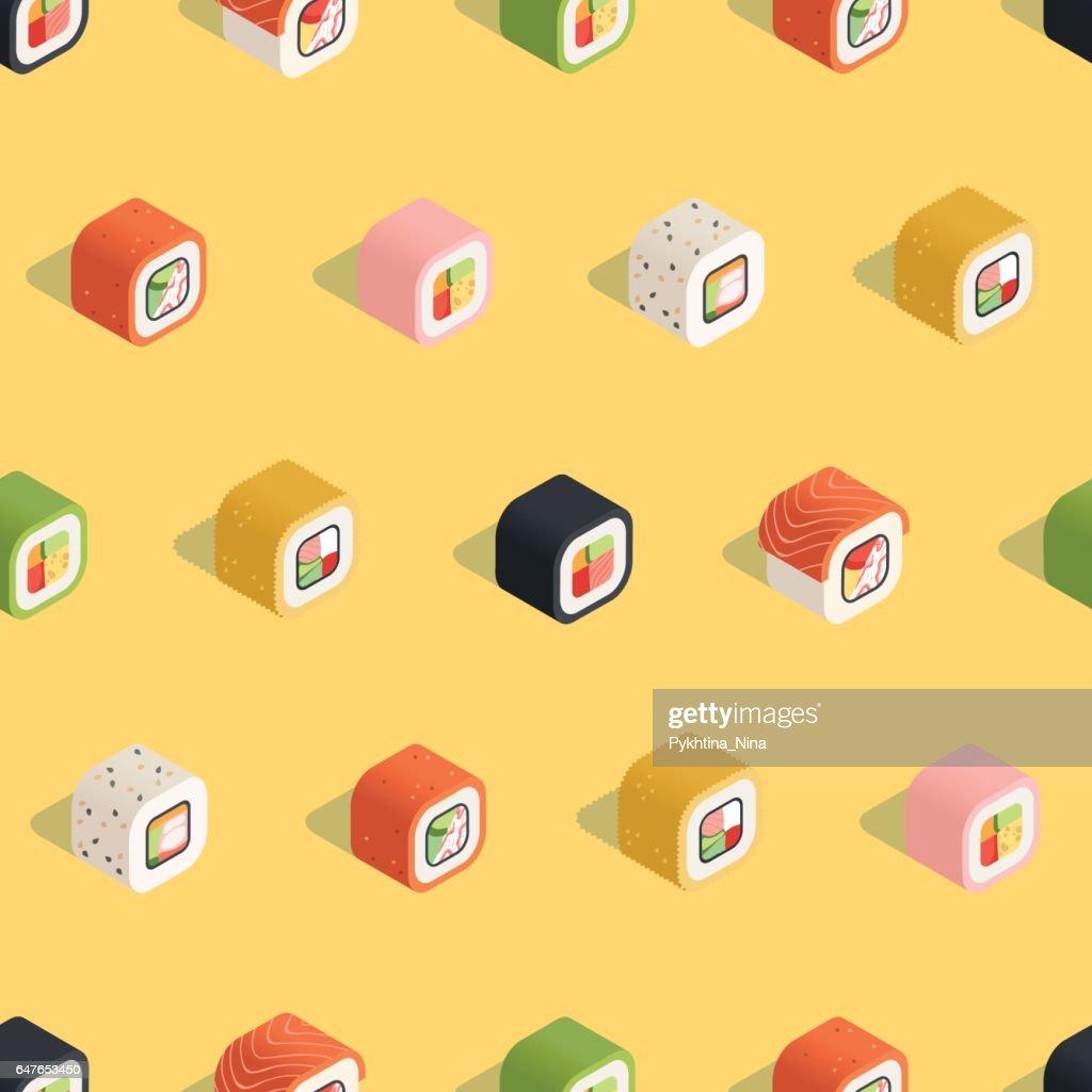 Isometric yellow sushi pattern