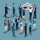Isometrics set of characters, coaches, teachers, coaches, businessmen, lawyers, recruits