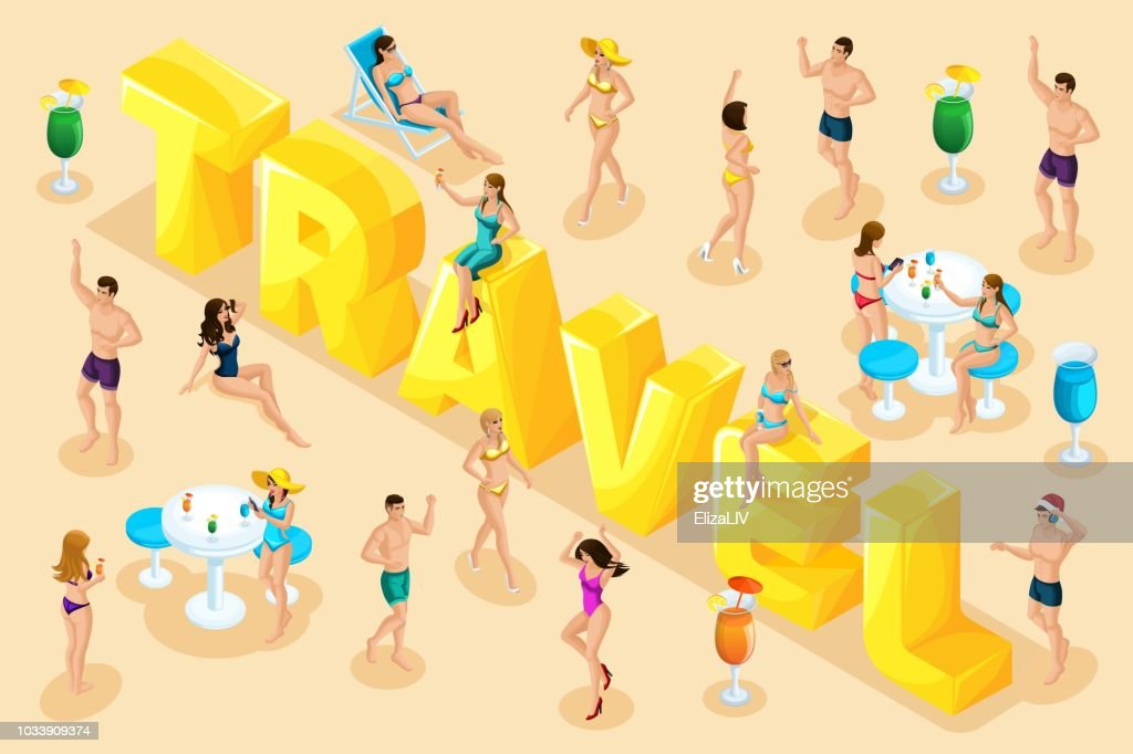 Isometrics trip, rest, people in summer, girls in bathing suits, men in swimming trunks, sand, sea, beach, big letters, inscription font set5