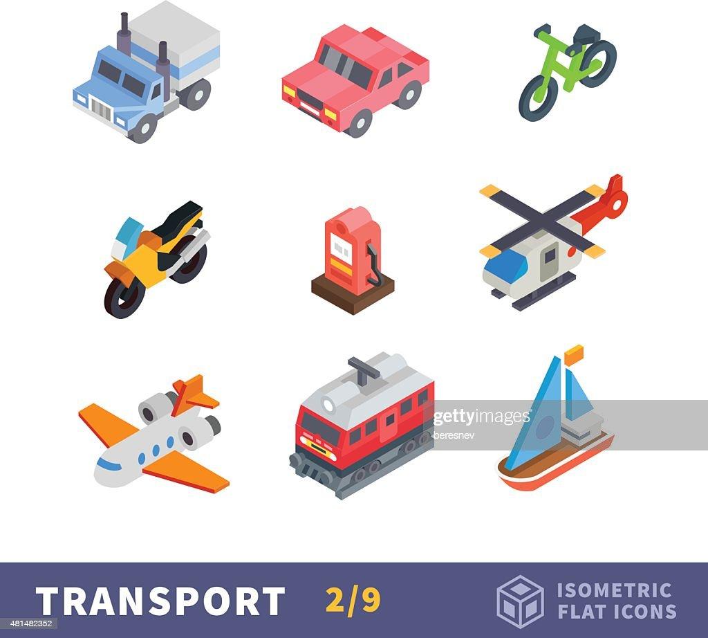 Isometry transport flat icon set