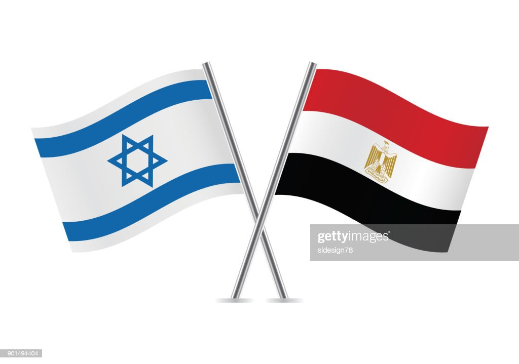 Israel and Egypt flags. Vector illustration.