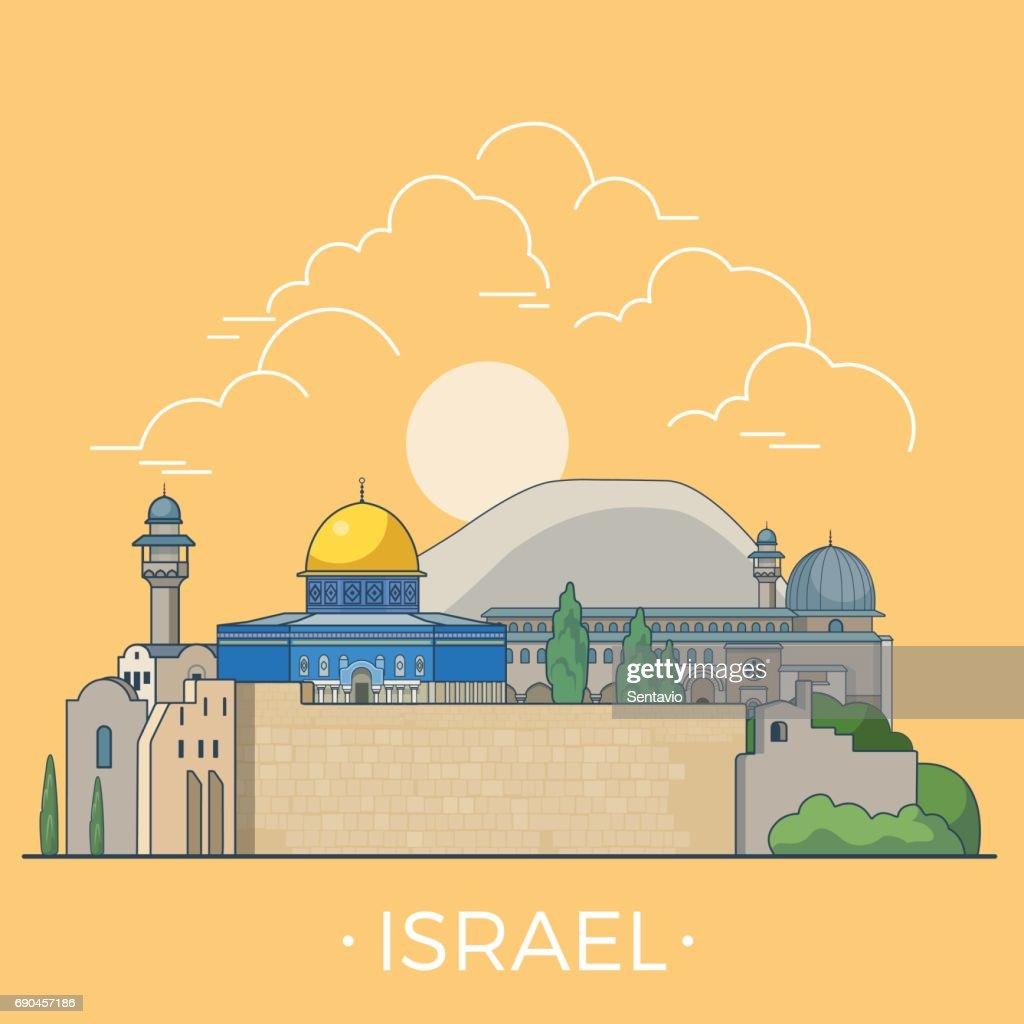 Israel country design template. Linear Flat famous historic sight; cartoon style web site vector illustration. World travel and showplace in Asia, Asian vacation collection.