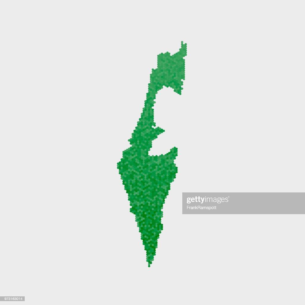 Israel-Land-Map-grünen Sechseck-Muster : Vektorgrafik