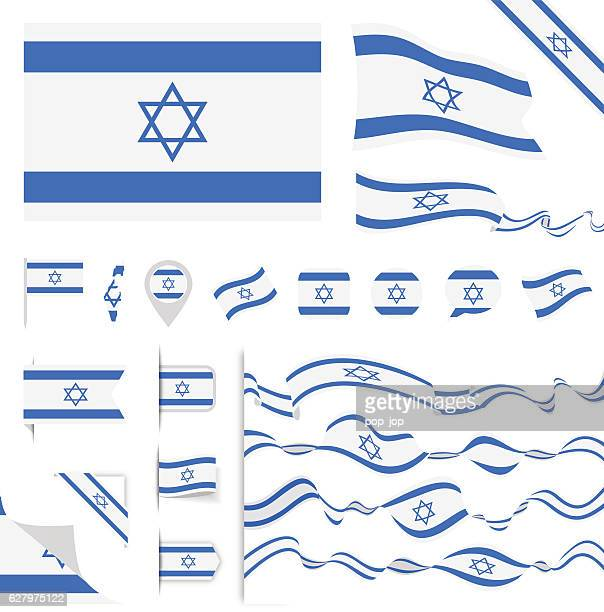 israel-flagge set - israel stock-grafiken, -clipart, -cartoons und -symbole
