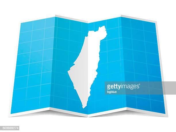 Israel Map folded, isolated on white Background