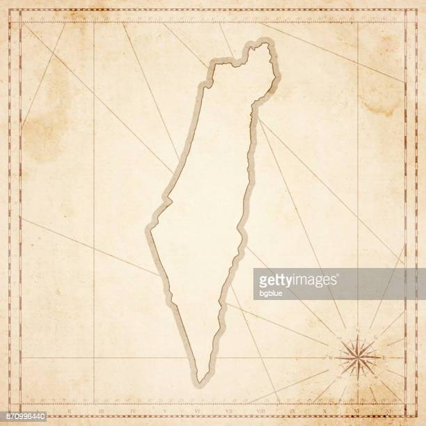 Israel map in retro vintage style - old textured paper