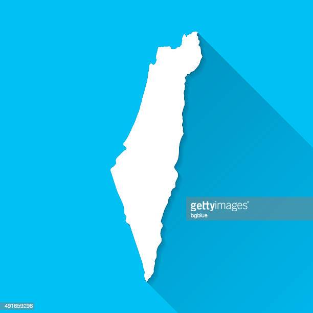 israel map on blue background, long shadow, flat design - israel stock illustrations