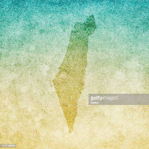 Israel Map on grunge Canvas Background