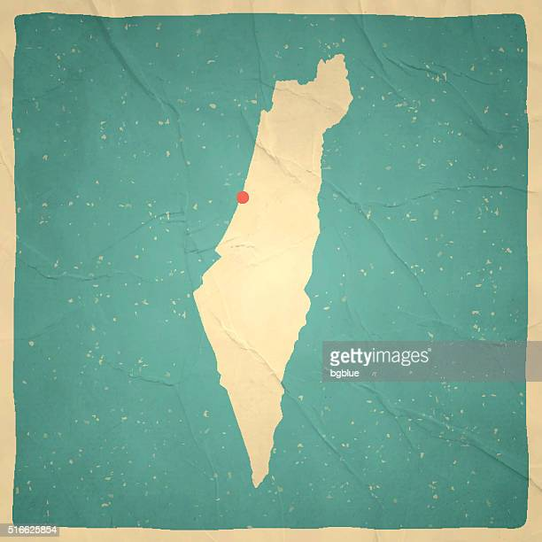 Israel Map on old paper - vintage texture