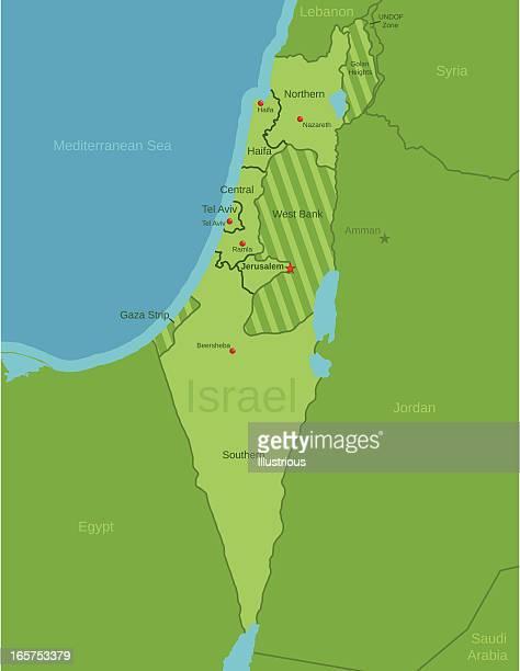 stockillustraties, clipart, cartoons en iconen met israel map showing districts - palestijnse gebieden