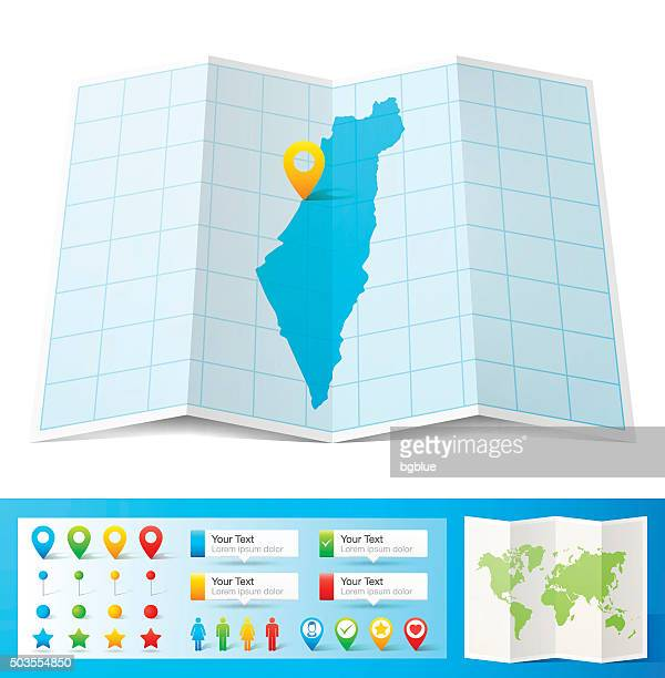 Israel Map with location pins isolated on white Background
