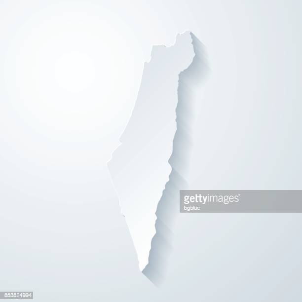 Israel map with paper cut effect on blank background