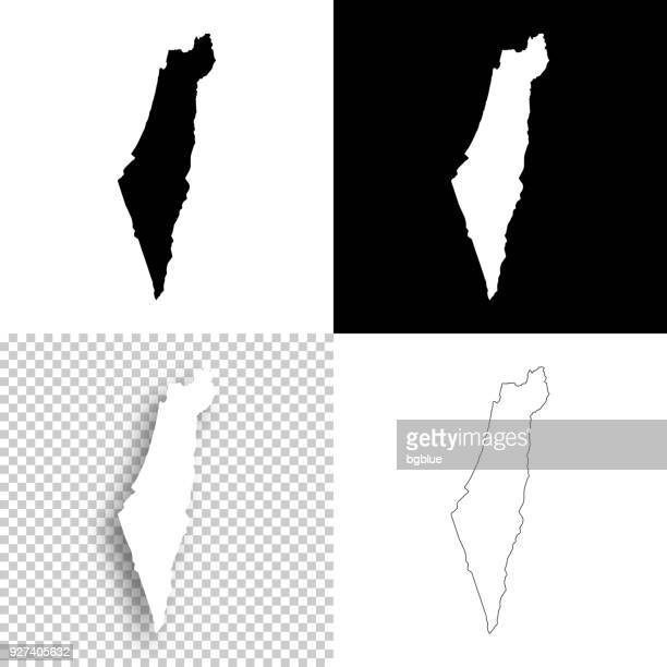 illustrazioni stock, clip art, cartoni animati e icone di tendenza di israel maps for design - blank, white and black backgrounds - israele