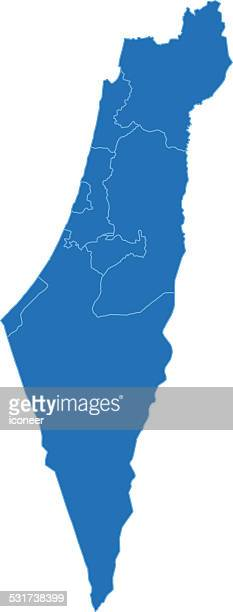 Israel simple blue map on white background
