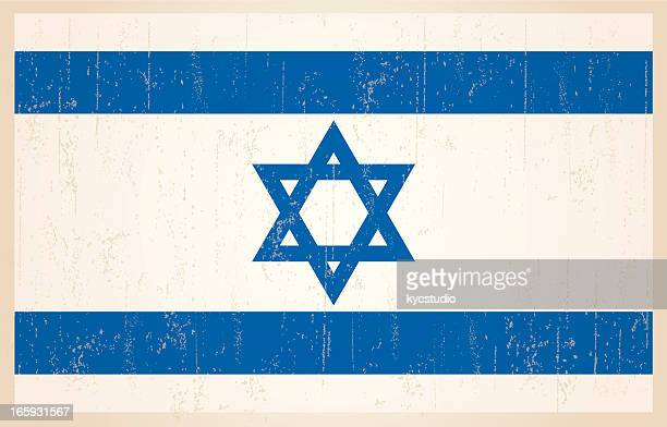 israeli flag in grunge and vintage style. - hebrew script stock illustrations, clip art, cartoons, & icons