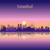 Istanbul city skyline silhouette background