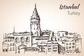Istanbul Galata Tower. Turkey. Sketch.