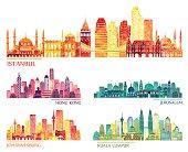 Istanbul, Hong Kong, Jerusalem, Johannesburg, Kuala Lumpur  skyline. Vector illustration