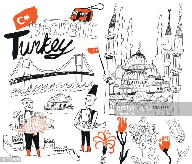 istanbul in turkey - turkey middle east stock illustrations