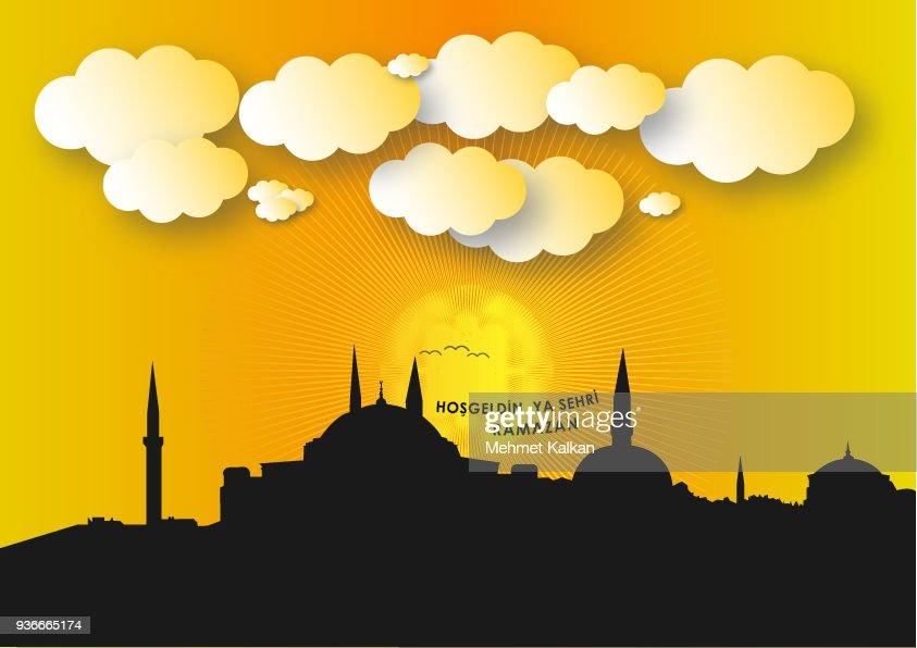 istanbul silhouette, welcome ramadan vector work (Turkish İstanbul siluetinde hosgeldin Ramazan Vektor Calismasi)