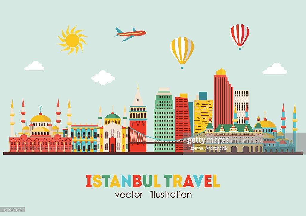 Istanbul skyline detailed silhouette. Vector illustration