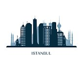 Istanbul skyline, monochrome silhouette. Vector illustration.
