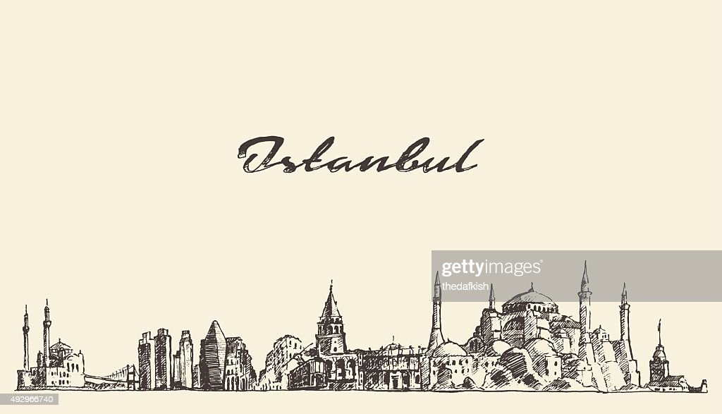 Istanbul skyline Turkey illustration drawn sketch