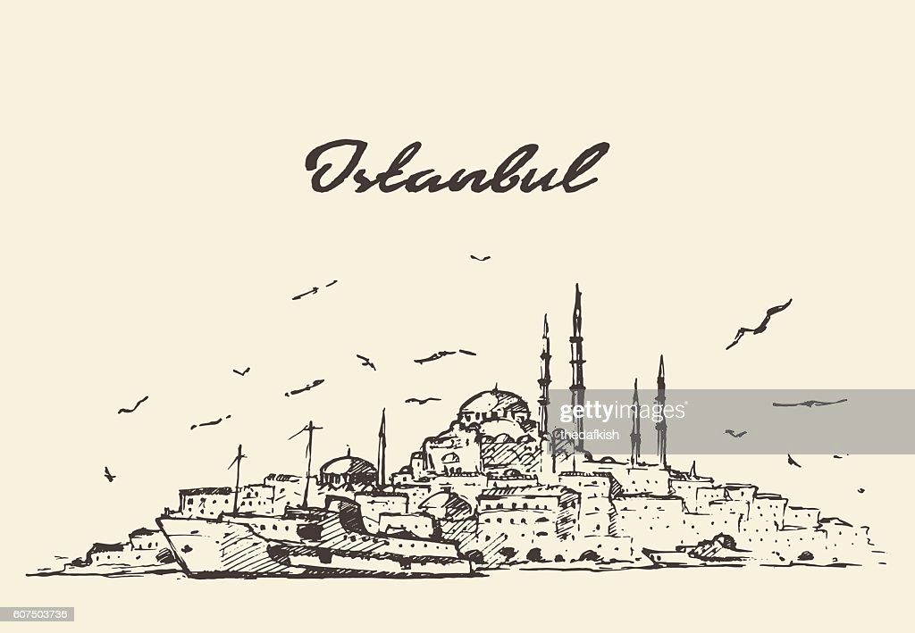 Istanbul skyline Turkey illustration drawn sketch.