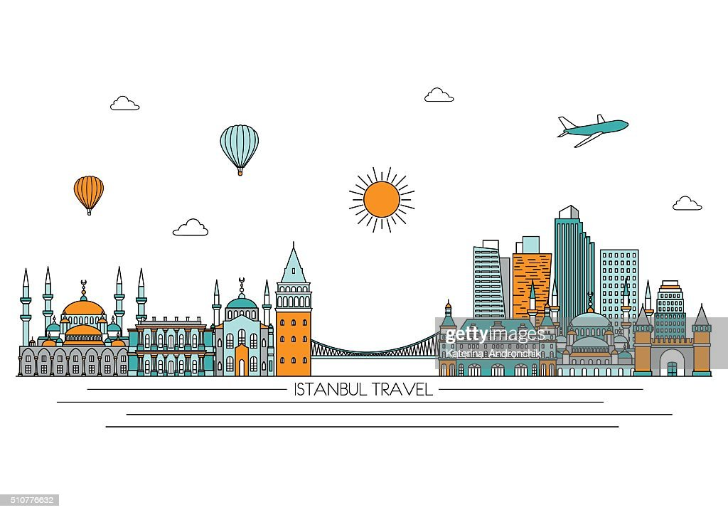 Istanbul skyline. Vector line illustration. Line style design