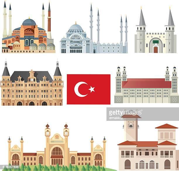 istanbul symbols - selimiye mosque stock illustrations