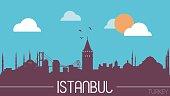 Istanbul Turkey skyline silhouette