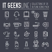 It geeks thin line brochure cards set. Office professional developer template of flyer, magazines, posters, book cover, banners. Outline invitation concept. Workplace technology layout pages