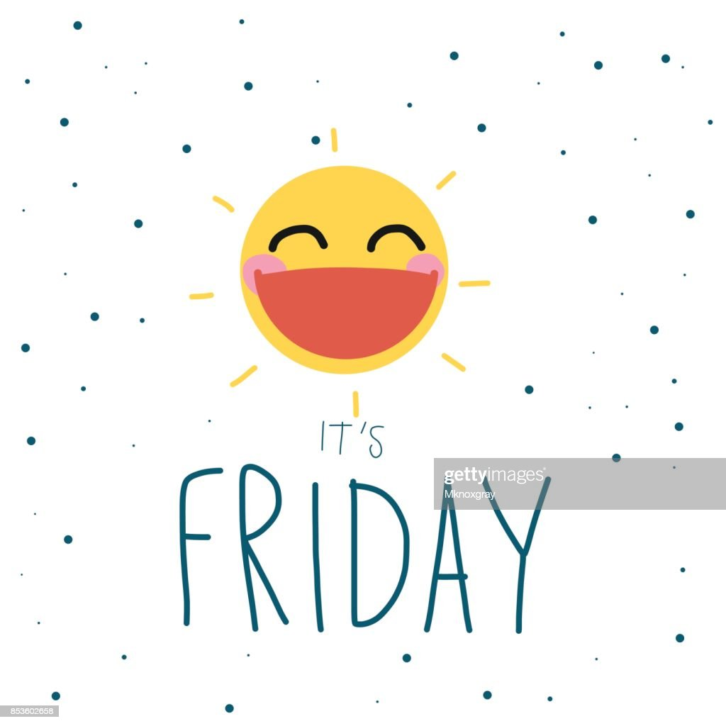 It is Friday cute sun smile cartoon vector illustration