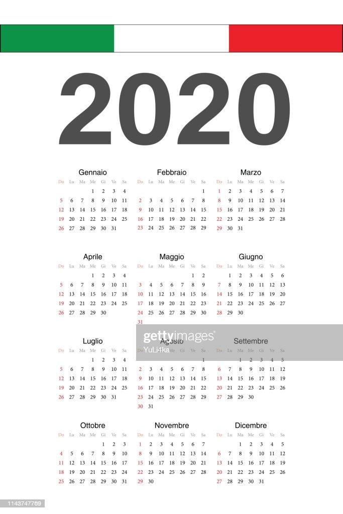 Italian 2020 year vector calendar.
