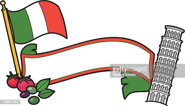 italian banner - leaning tower of pisa stock illustrations, clip art, cartoons, & icons