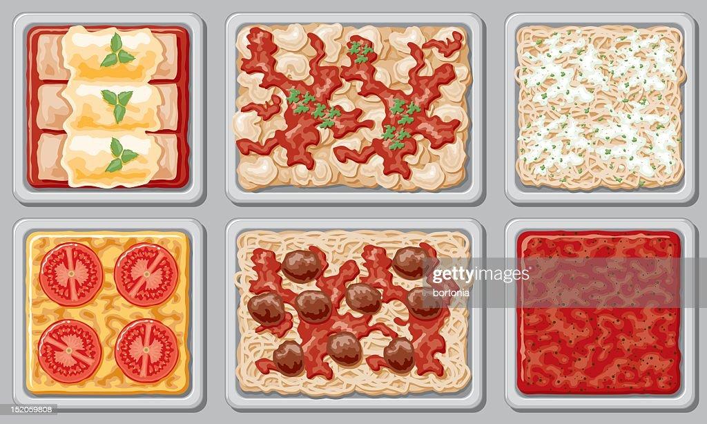 Italian Buffet (overhead view) : stock illustration