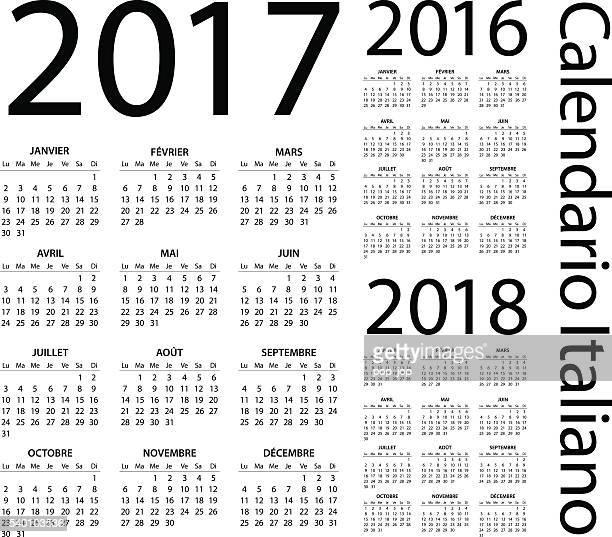 italian calendar 2017 2016 2018 - illustration - 2016 stock illustrations, clip art, cartoons, & icons