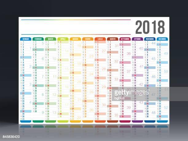 italian calendar 2018 - agenda stock illustrations, clip art, cartoons, & icons