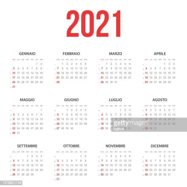 illustrazioni stock, clip art, cartoni animati e icone di tendenza di calendario italiano 2021 - 2021