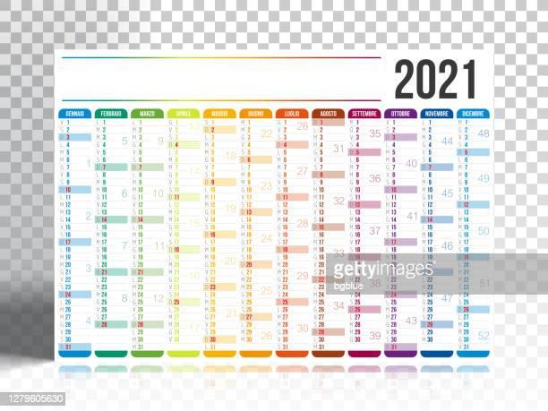 illustrazioni stock, clip art, cartoni animati e icone di tendenza di calendario italiano 2021 con backgorund vuoto - 2021