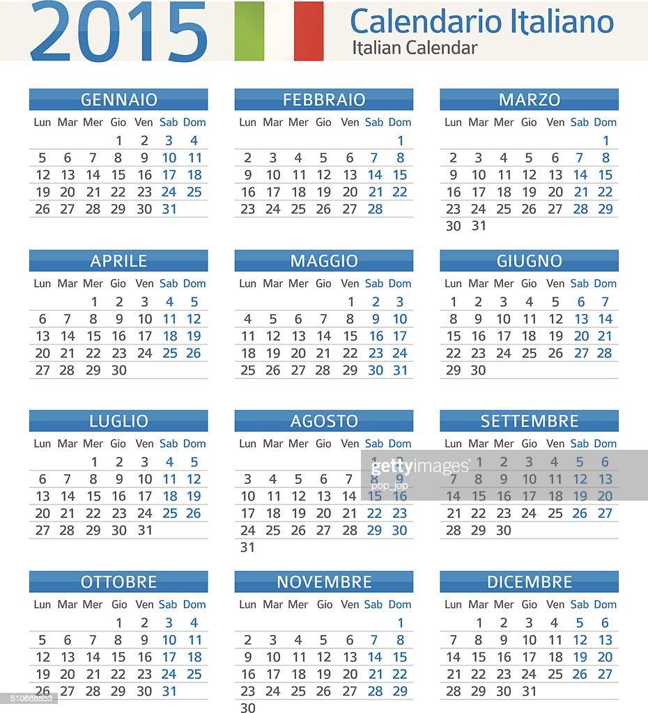 Calendario Vectorizado.Italian Calendar Calendario Italiano 2015 Illustration Stock