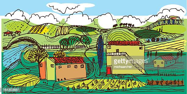 italian countryside - tuscany stock illustrations, clip art, cartoons, & icons