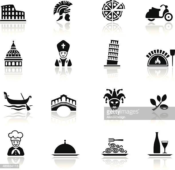 italian culture icon set - leaning tower of pisa stock illustrations, clip art, cartoons, & icons
