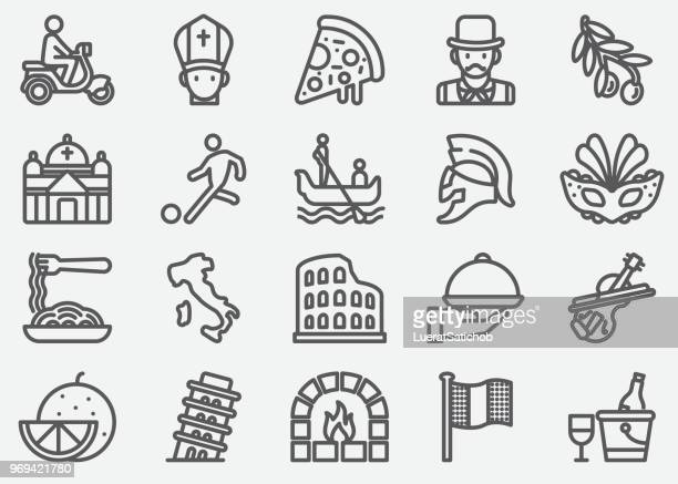italian culture line icons - leaning tower of pisa stock illustrations, clip art, cartoons, & icons