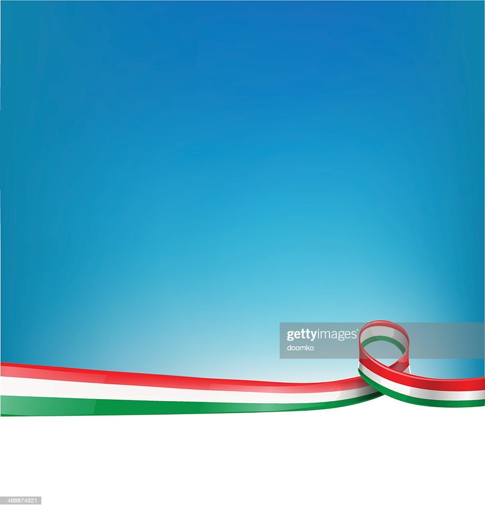 Italian flag ribbon dividing blue and white page