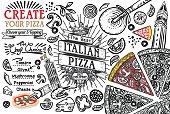 Italian food ingredients as pizza doodle